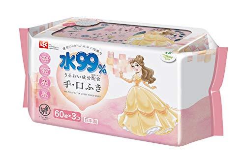 レックディズニー プリンセス ベル 水99%おでかけ手 口ふき 1パック 60枚×3個 レック