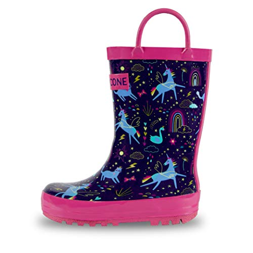 LONECONE Rain Boots with Easy-On Handles in Fun Patterns & Solid Colors for Toddlers and Kids, Unicorn Dreams, 12 Little Kid