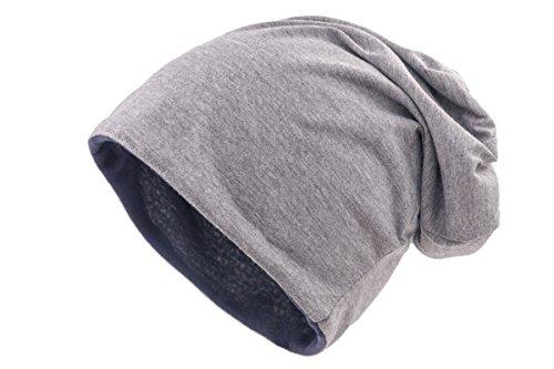 shenky - Gorro caído - Ideal para la pérdida de Cabello y Durante un Tratamiento - Gorro Reversible Gris Azul Marino