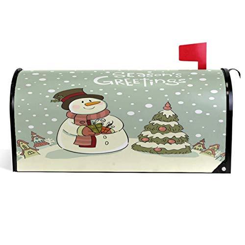 Cubierta de buzón de Navidad de muñeco de nieve de invierno con diseño de muñeco de nieve para buzón de buzón magnético para cajas de correo, tamaño 45,7 x 53,3 cm