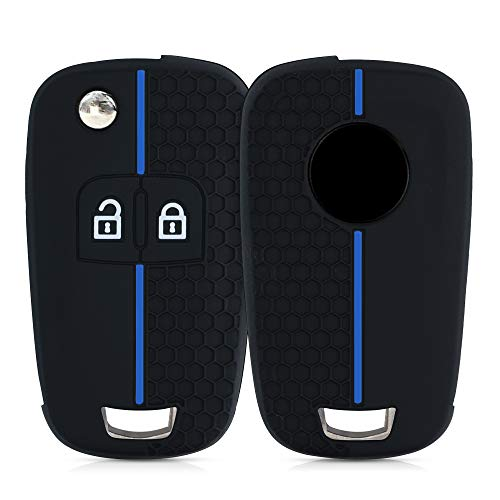 kwmobile Funda de Silicona Compatible con Opel Chevrolet Llave de Coche Plegable de 2 Botones - Carcasa Suave de Silicona - Case Mando de Auto Negro/Azul