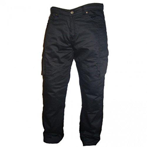 Australian Bikers Gear ABG - motorfiets jeans/cargo broek - met DuPontTM KEVLARARAMID FIBRE afneembare wapening, zwart, 40L/L34 (30L)
