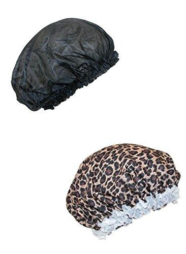 CTM Cover der Traumrolle bedecken Satinhaar für Frauen (Packung mit 2) Einheitsgröße Schwarz/Leopard