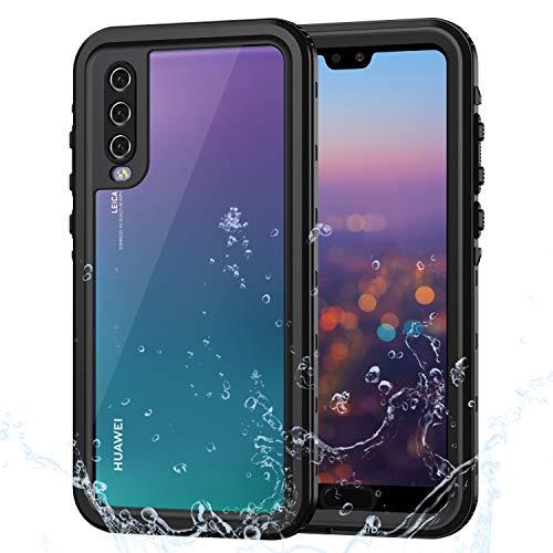 Lanhiem Funda Impermeable Huawei P20 Pro, Carcasa Resistente Al Agua IP68 Certificado [Protección de 360 Grados], Carcasa para Huawei P20 Pro con Protector de Pantalla Incorporado, Negro
