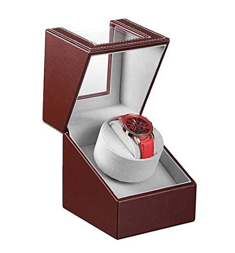 Cajas Giratorias para Relojes Watch Winder Caja Relojes Automaticos Silencioso Enrollador De Reloj El Reloj Individual De Un Solo Cabezal Se Puede Enchufar Funcionar con BateríA-Ceniza Roja Exterior