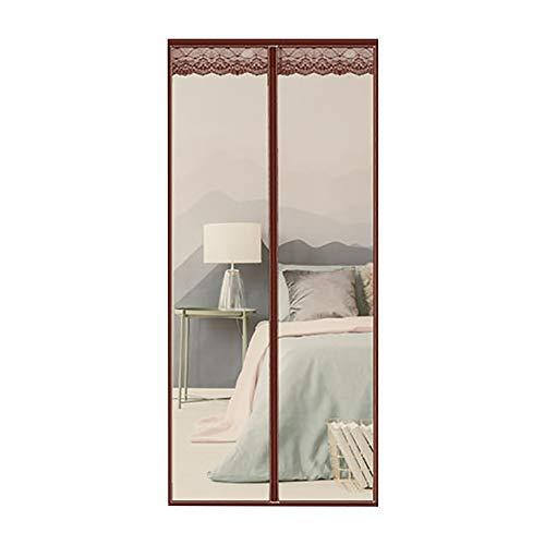 Magnetisch, voor deuren met standaard magneten, met klittenbandsluiting, afsluitbaar, winddicht, ademend, vliegengaas met elegante deur, kantoor, bruin, 170 x 220 cm (67 x 87 inch).