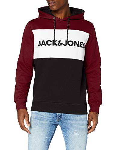 JACK & JONES Herren JJELOGO Blocking Sweat Hood STS Kapuzenpullover, Port Royale, XL