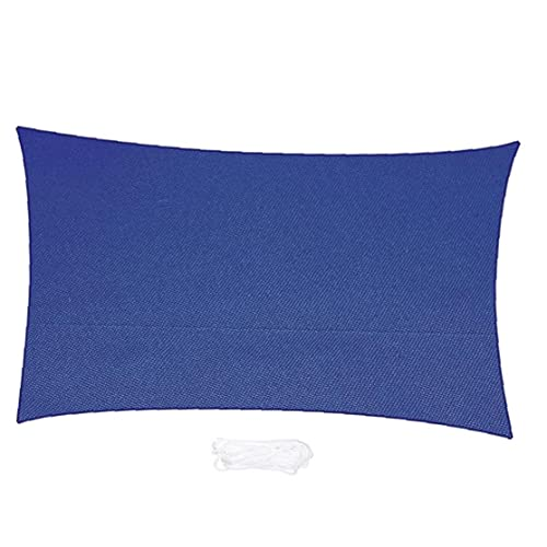 Sun Shade Sail Bloque UV Rectangular Impermeable Oxford Paño Toldo con Cuerda Azul Marina, Sombrilla De Sol
