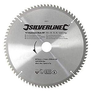 Silverline 456915 - Disco de TCT para Aluminio, 80 Dientes (250 x 30 - Anillos de 25, 20 y 16 mm)