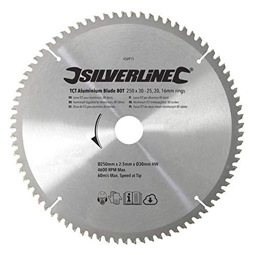 Silverline Tools 456915 - TCT per Disco di Alluminio, 80 Denti (250 x 30 - Anelli 25, 20 e 16 mm)