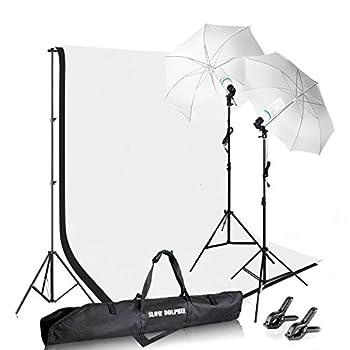 Slow Dolphin Photography Photo Video Studio Background Stand Support Kit with Muslin Backdrop Kits  White Black ,1050W 5500K Daylight Umbrella Lighting Kit