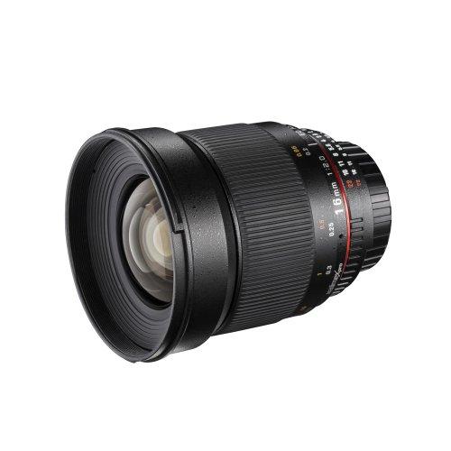 Walimex Pro 16mm 1:2,0 DSLR-Weitwinkelobjektiv AE für Nikon F Objektivbajonett schwarz (für APS-C Sensor gerechnet, IF, Chip für EXIF-Datenaustausch, inkl. Schutzdeckel)