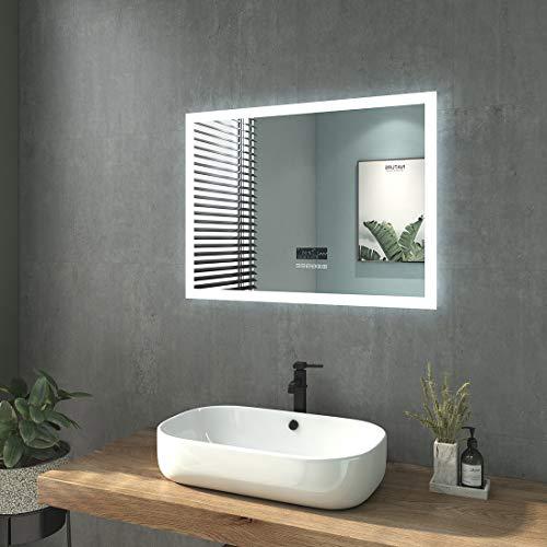 WELMAX Badspiegel mit Beleuchtung Wandspiegel Badezimmerspiegel mit Beleuchtung LED Badspiegel IP44 Energiesparend Energieklass A++ (80x60cm Touchschalter+Beschlagfrei+Bluetooth+Uhr, Stil C)
