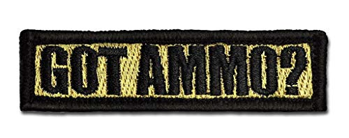 BASTION Morale Patches (Got Ammo?, Tan) | 3D Embroidered Patches with Hook & Loop Fastener Backing | Well-Made Clean Stitching | Military Patches Ideal for Tactical Bag, Hats & Vest