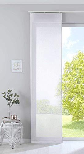 Gardinenbox Schiebegardine »Nizza« Baumwoll-Voile Halbvoile HxB 245x60 cm Weiß Transparent Flächenvorhang mit Paneelwagen und Beschwerungsstange, 2019032