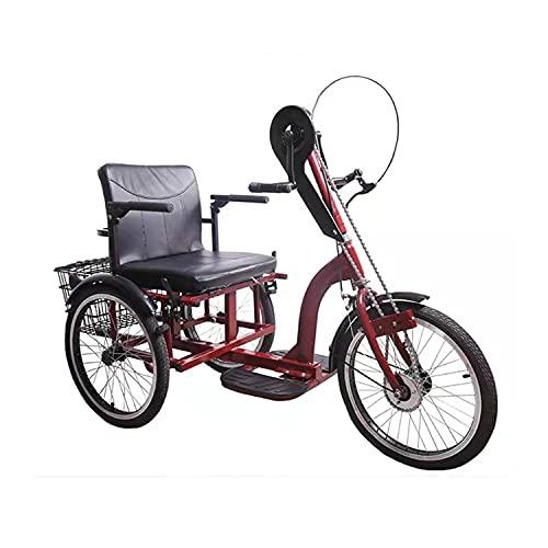 Triciclo para Adultos Bicicleta Triciclo De Manivela De Triciclo para Adultos para El Marco De Acero De Alto Carbono De Ancianos Bicicletas De Tres Ruedas Paciente De Triciclo De Empuje Anciano