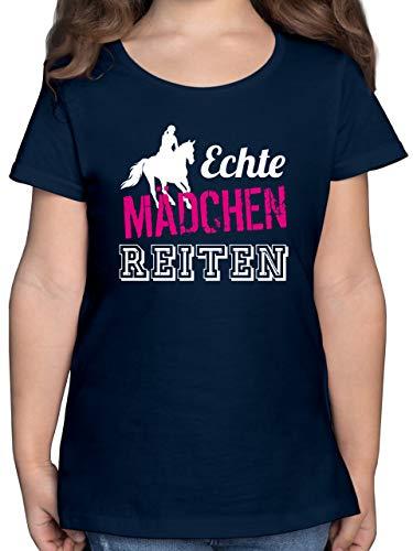 Sport Kind - Echte Mädchen reiten - 164 (14/15 Jahre) - Dunkelblau - Geburtstag 9 Jahre mädchen - F131K - Mädchen Kinder T-Shirt