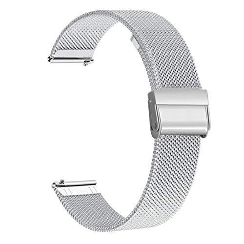 WATORY Armband kompatibel mit Amazfit GTS, Quick Release Mesh Gewebte Edelstahl Armband Metall Uhrenarmband Business Ersatzband für Amazfit Bip, Amazfit Bip lite Amazfit GTR 42mm, Silber