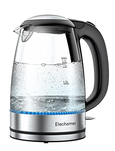 Elechomes 1.7L Electric Kettle, Cordless Portable Glass Tea Kettle(BPA Free), Water Heater for Tea Coffee Hot Cocoa, Auto Shut-Off and Boil Dry Protection, Stainless Steel Bottom