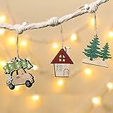 Aitsite Colgante Navideño de Madera 6 Piezas, Adornos árbol Navidad Decoración Fiesta Regalo, Coche/árbol de Navidad/Casa/Alce, Decoraciones de Navidad