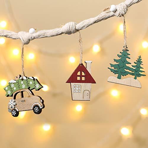 Aitsite Ciondolo con Ornamenti Natalizi in Legno 6PCS, Ciondolo Appeso Auto in Legno Dipinto con Decorazioni Natalizie per Casa e Vacanze, Etichette Regalo(4 Stili:Auto, Albero di Natale, Casa, Alce)