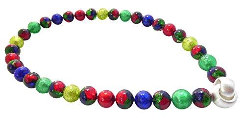 Murano-Kette Collier Perlen Handarbeit echtes Murano-Glas Klapp-Schließe Sterling-Silber 925-er Goldschmiede-Arbeit kostbar stilvoll