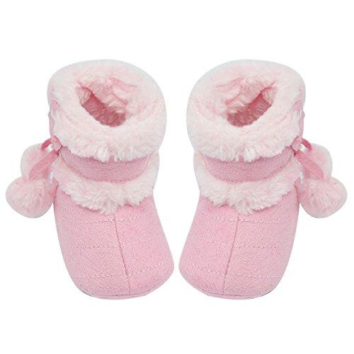 Gosear Neonato Inverno Caldo Morbido Cotone Scarpe Stivali Natale Stivali Taglia M per 6-12 Mesi i Bambini Vecchi Roasa
