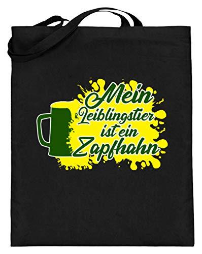 Lustiges Mein Lieblingstier ist ein Zapfhahn - Bier Alkohol Saufen Party Design - Jutebeutel (mit langen Henkeln)