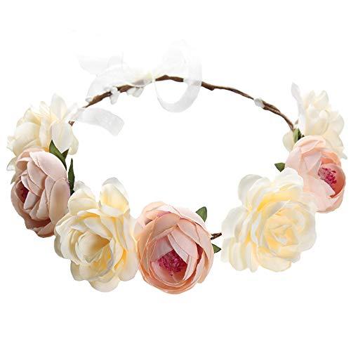 Flower Crown Headband Rose Wreath Garland Hair Bands Floral Wedding Bridal Hair Hoop Women Ladies Leaf Ribbon Party Decoration Headdress Headwear Christmas Handmade Headpiece Hair Accessories Khaki
