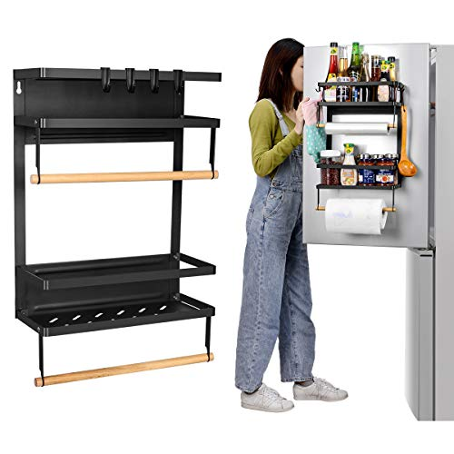 Refrigerator Spice Storage Shelf - Magnetic Fridge Spice Rack Organizer Paper Towel Holder - 19.4 x14.5 x12.7 INCH,Large Weight Capacity Rustproof Spice Jars Rack, Strong Magnetic Shelf