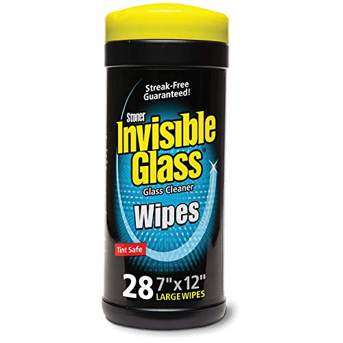 Invisible Glass 90166 28-Count Lint-Free and Ammonia-Free 7 X 12 Large Glass Cleaning Wipes are Tint Safe Enjoy Streak Free Windows, Mirrors, and Glass for Home and Auto