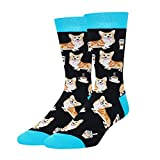 HAPPYPOP Funny Shark Corgi Pug Sneaker Flamingo Socks Men Boys, Novelty Crazy Animal Lovers Gift