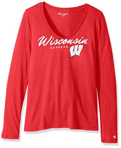 Champion NCAA - Camiseta de Manga Larga con Cuello en V para Mujer, Mujer, C5386-1, Scarlet, Small