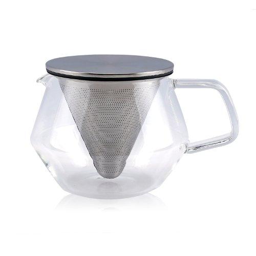 Kinto Carat theepot van glas met filter in Cône