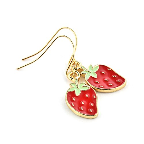 SCHMUCKZUCKER Damen Ohrhänger Erdbeer Charme Modeschmuck Frauen Ohrringe gold-farben rot grün