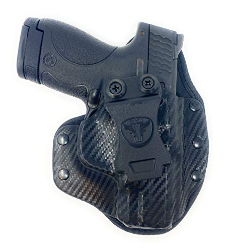 Cardini Leather USA – IWB Cáscara Series Hybrid Kydex and Leather Holster – Concealed Carry - Black Kydex, Black MeshFront with Black Mesh Padding Back – for Springfield Hellcat– Right Hand