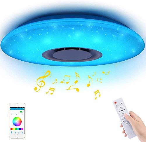 Plafonniers LED Musique 60W, YANFENG Bluetooth Music Lights Télécommande Plafonnier Dimmable LED Round Star Point RGBW Changement de couleur APP 185-265V Télécommande (RGBW, 60W)