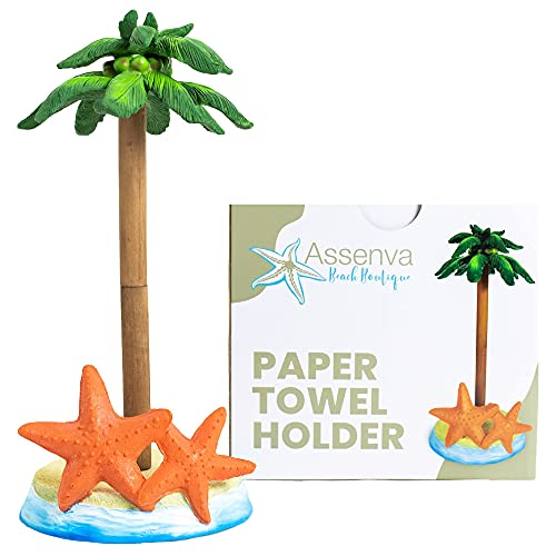 Palm Tree Paper Towel Holder Stand with Weighted Base, Fits Standard & Jumbo Rolls, for Kitchen Countertop, Dining Table, Outdoors, Bathroom
