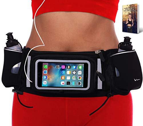 Runtasty [Voted No.1 Hydration Belt] Winners' Running Fuel Belt - Includes Accessories: 2 BPA Free Water Bottles & Runners Ebook - Fits Any iPhone - w/Touchscreen Cover - No Bounce Fit and More!