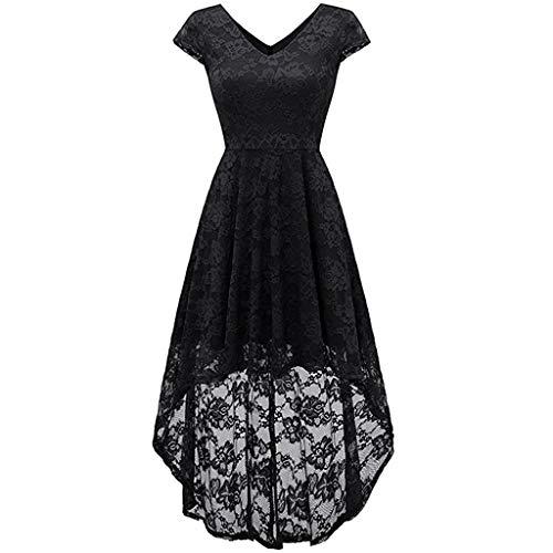 URIBAKY Elegant Kurzarm Kleid aus Spitzen Damen Ärmellos Unregelmässig Cocktailkleider Party Ballkleid Solide V-Ausschnitt