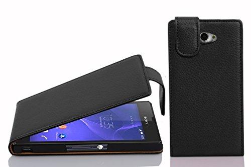 Cadorabo Hülle für Sony Xperia M2 / M2 Aqua in Oxid SCHWARZ - Handyhülle im Flip Design aus Strukturiertem Kunstleder - Hülle Cover Schutzhülle Etui Tasche Book Klapp Style