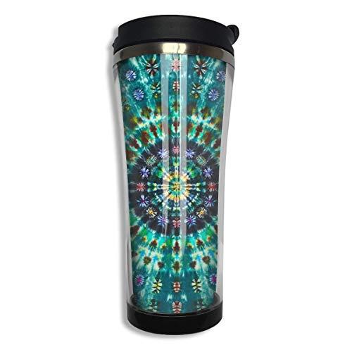 Vaso frío caliente verde Mandala con teñido anudado en espiral con taza de café hermética para oficina, viaje a casa