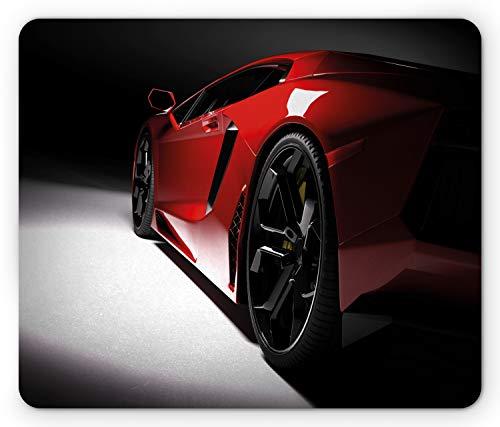 Lunarable Nursery Mouse Pad, Modern Speed Sport Car Vivid Toned Exquisite Automobile Image, Rectangle Non-Slip Rubber Mousepad, Standard Size, Black Red