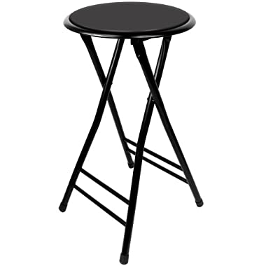 Trademark Home Folding Stool – Heavy Duty 24-Inch Collapsible Padded Round Stool with 300 Pound Capacity for Dorm, Rec Room or Gameroom (Black)