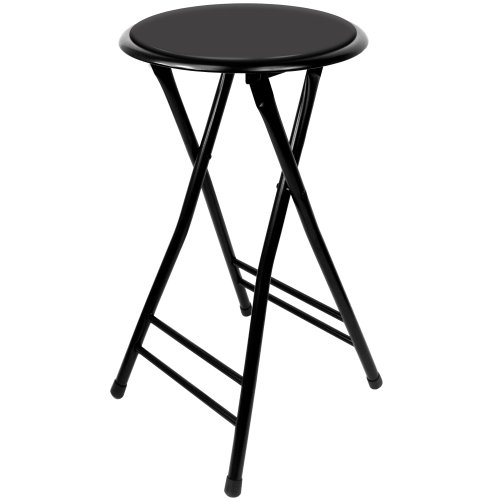 Trademark Home Folding Stool – Heavy Duty 24Inch Collapsible Padded Round Stool with 300 Pound Capacity for Dorm Rec Room or Gameroom Black