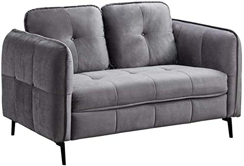 YRRA Sofás Sofá de terciopelo azul 3 plazas, moderno sofá sofá sofá sofá asiento acolchado compacto para sala de estar muebles del hogar (terciopelo azul 3 plazas)-terciopelo gris_2 plazas