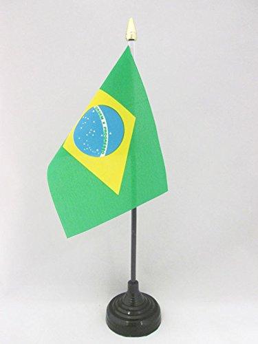 AZ FLAG TISCHFLAGGE BRASILIEN 15x10cm goldene splitze - BRASILIANISCHE TISCHFAHNE 10 x 15 cm - flaggen
