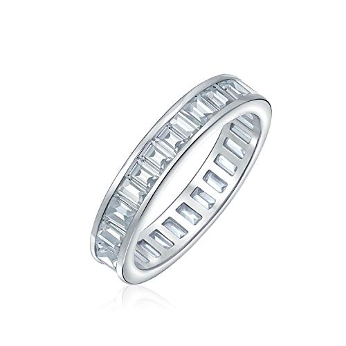 AAA Cubic Zirconia Channel Set Rectangle Emerald Cut Baguette CZ Eternity Ring Anniversary Wedding Band For Women 925 Sterling Silver 4MM Stackable Rings