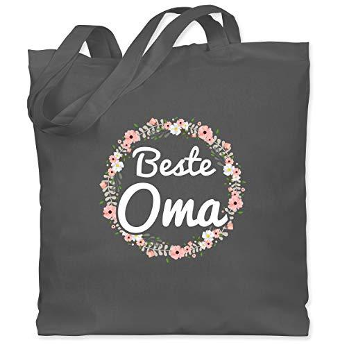 Shirtracer Oma - Beste Oma Blumenkranz - Unisize - Dunkelgrau - jutebeutel einkaufstasche - WM101 - Stoffbeutel aus Baumwolle Jutebeutel lange Henkel
