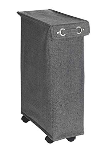 WENKO Pongotodo Corno Prime negro-blanco, Cesta para la ropa con tapa Capacidad: 43 l, Poliéster, 18 x 60 x 40 cm, Negro